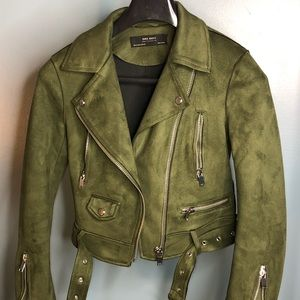 Faux suede Zara biker jacket